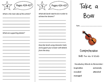 Take a Bow Trifold - California Treasures 6th Grade Unit 4 Week 3