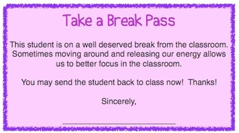 Take a Break Pass - For Classroom Management