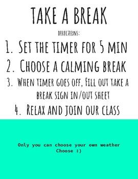 Take a Break Poster & Directions