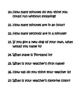 Take a Break Questions