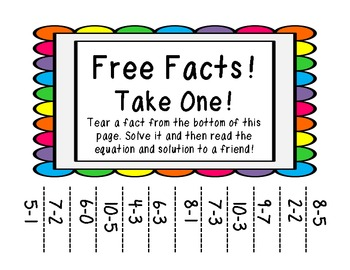 Take a Fact! Computation practice template for Add, Sub, Mul, Div!! FUN!