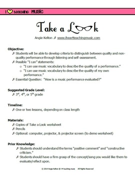Take a Look - Evaluation & Self-Reflection FREEBIE