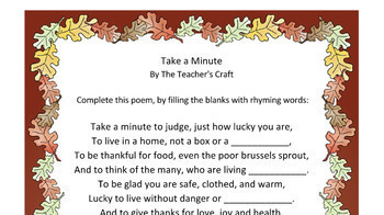 Take a Minute - A Thoughtful Thanksgiving Poetry Activity
