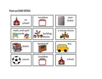 Take a Mouse to School Story Sequence: File Folder