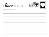 I love you because... writing template