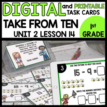 Take from Ten to Solve Strategy DIGITAL/PRINTABLE TASK CARDS