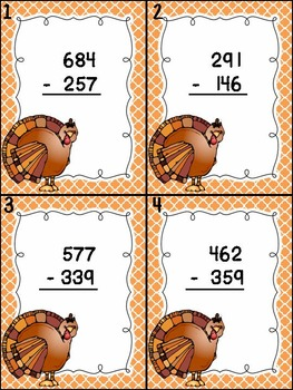 Thanksgiving Math Scoot Game: 3-Digit Subtraction with and without Regrouping