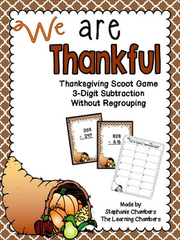 thanksgiving math scoot game 3 digit subtraction with and without regrouping. Black Bedroom Furniture Sets. Home Design Ideas