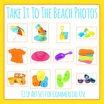 Take it to the Beach Theme Photos / Photograph Clip Art Set for Commercial Use