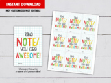 Take note you are Awesome Cards, Teacher Appreciation Gift Tag Idea