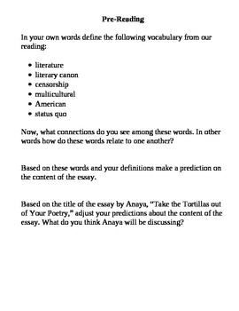 """Anaya's """"Take the Tortillas out of your Poetry"""" - Prereading and Questions"""