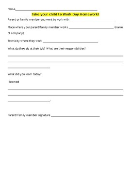 Take your Child to Work day Activity! EDITABLE