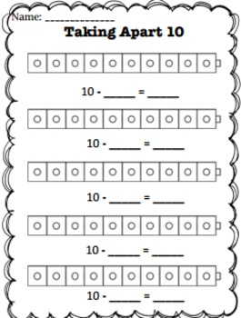 Taking Apart Numbers Practice Worksheets with connecting cubes