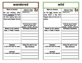Taking Care of Pepper Context Clues (MacGraw Hill Wonders 2nd Grade Series)