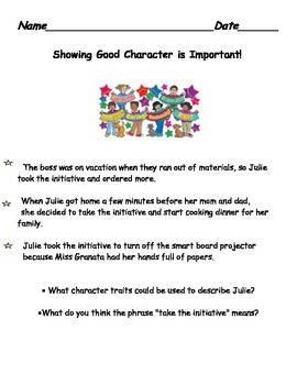 Taking Initiative Character Education Lesson