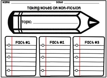 Taking Non-Fiction Notes Organizer