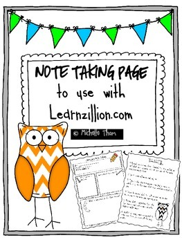 Note Taking Page {to use with learnzillion.com}