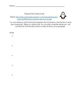 Taking Notes and Turning Notes into Paragraphs