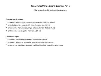 Taking Notes/Graphic Organizer Pt I: