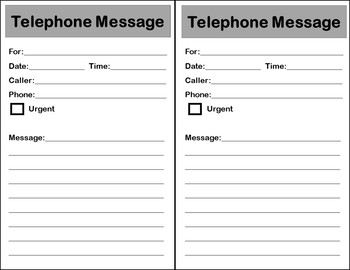 Taking Phone Messages-Vocational Task Cards