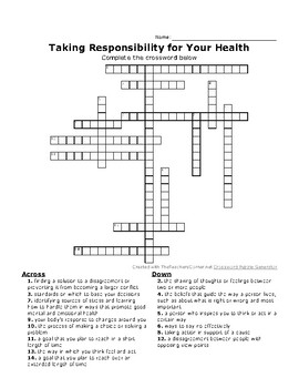 Taking Responsibility for Your Health Crossword and Word Search