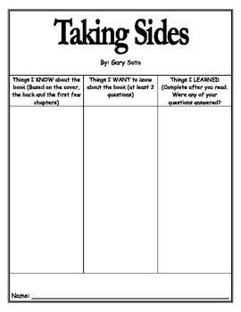 Taking Sides Literature Guide