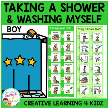 Taking a Shower (Boy) & Washing Myself (Boy) Visual Charts