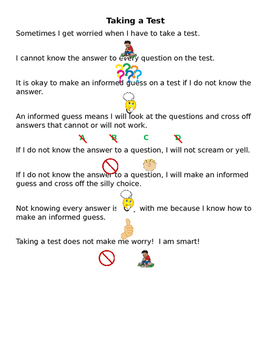 Taking a Test Social Story