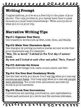 Taking a Trip Narrative Essay Creative Story Writing Prompt Common Core Aligned