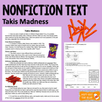 Takis Madness Nonfiction Passage and Questions