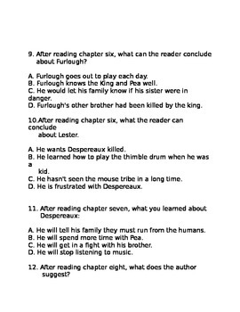 Tale of Despereaux- Book the First Quiz