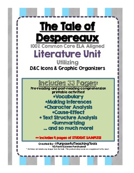 Tale of Despereaux Literature Unit – with D&C Icons and Graphic Organizers