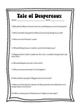 Tale of Despereaux Questions