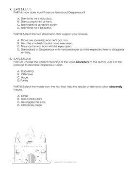 Tale of Despereaux Sample 3rd Grade FSA Novel Study Ch. 1-3