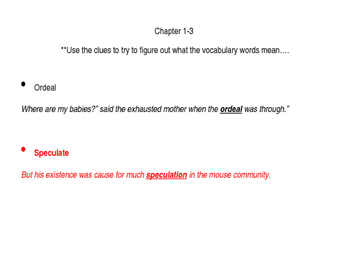 Tale of Despereaux Vocabulary