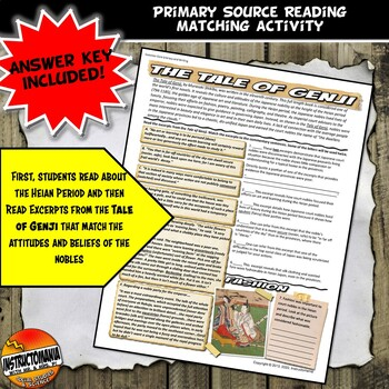 Medieval Japan Tale of Genji Common Core Literacy & Excerpt Match Activity