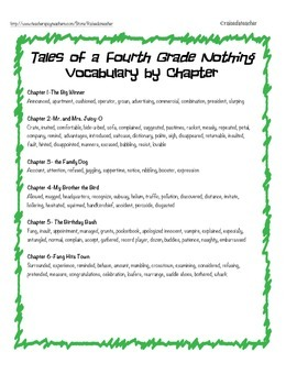 Tales of a Fourth Grade Nothing Novel Study/ Book Unit