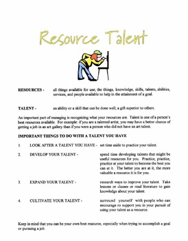 Talent As A Resource Lesson
