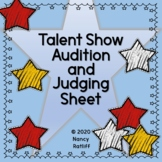 Talent Show Audition and Judging Sheet