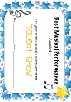 Talent Show Certificate Freebie