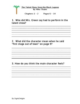Talent Show from the Black Lagoon Reading Comprehension Questions