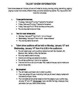 Talent Show- information form and audition sheet