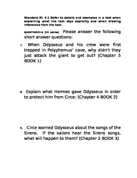 Tales From the Odyssey Book 1 Assessment