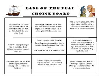 Tales from the Odyssey Book 2: Land of the Dead Choice Board Menu Project