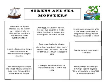 Tales from the Odyssey Book 3: Sirens and Sea Monsters Choice Board Menu