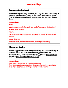 Tales of A Fourth Grade Nothing- Character Traits Test