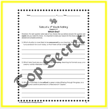 Tales of a 4th Grade Nothing: Vocabulary Practice Worksheets/Common Core Aligned