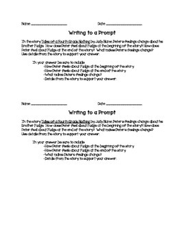 Tales of a 4th Grade Nothing Writing Prompt (Test Prep)