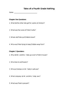 Tales of a 4th Grade Nothing comprehension questions