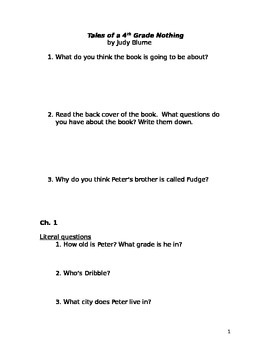 Tales of a 4th Grade Nothing lit circle packet